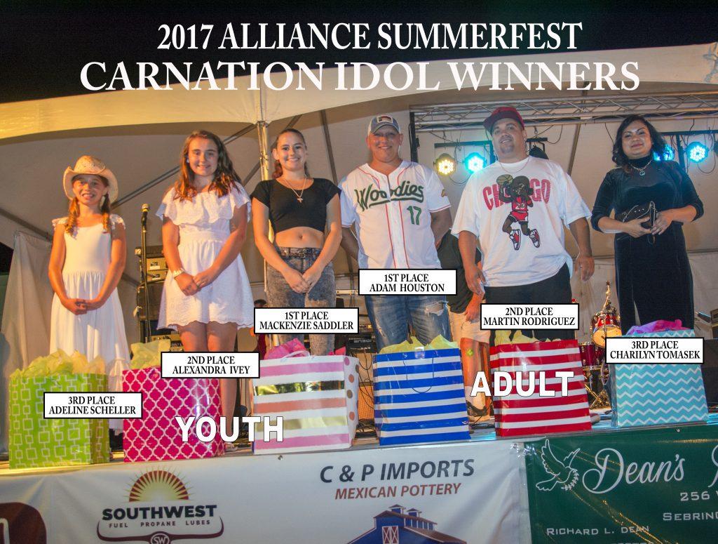 2017 Alliance SummerFest Carnation Idol Winners